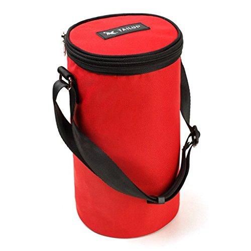 MagiDeal Nourriture Bol Plat d'Alimentation Chien Gamelle Pliable Portable Double-Bol Imperméable Porte-3KG - Rouge