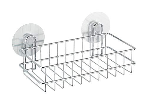 WENKO Static-Loc® Wandablage Osimo - Befestigen ohne bohren, Stahl, 26 x 9.5 x 14 cm, Chrom