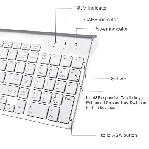 Wireless Keyboard and Mouse Combo, FENIFOX USB Slim 2.4G Wireless Keyboard Mouse Full-Size Ergonomic Compact with Number Pad for Laptop PC Computer - Silver White