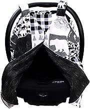 Dear Baby Gear Deluxe Reversible Car Seat Canopy, Custom Minky Print, Mountains, Moose, Bear, Woodgrain Faux Quilt