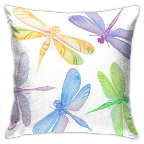 New-WWorld-Shop Beautiful Hand Drawn Watercolor Dragoies Pillowcase,Hidden Zip Pillowcase