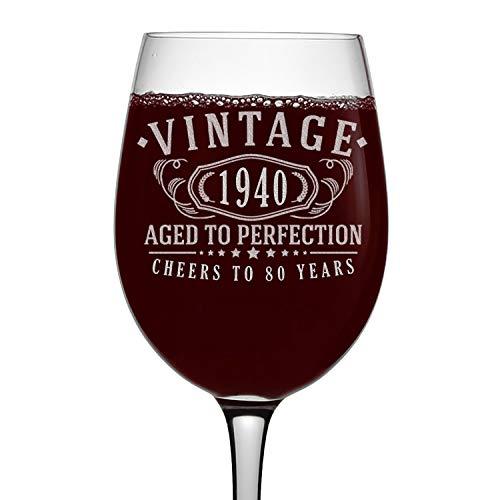 Vaso de vino vintage grabado 1940 de 16 onzas con tallo – 80º cumpleaños envejecido a la perfección – 80 años de edad regalos