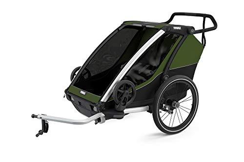 Thule, Chariot Cab 2 Trailer Kinderwagen Aluminium Unisex Adult, Aluminium/Cypress Grün