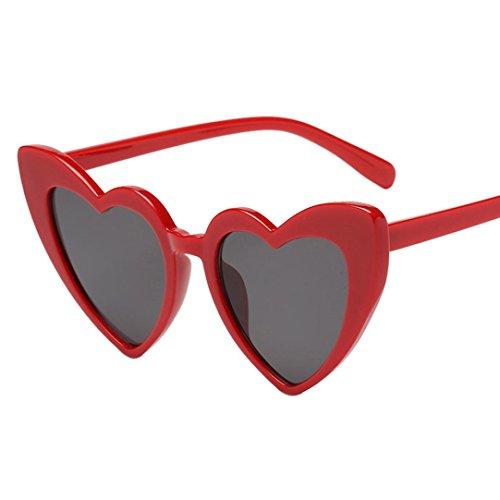 Huhu833 Mode Damen Retro Fashion Heart-shaped Shades Sonnenbrille Integrierte UV-Brille Reise Sonnenbrille (D)