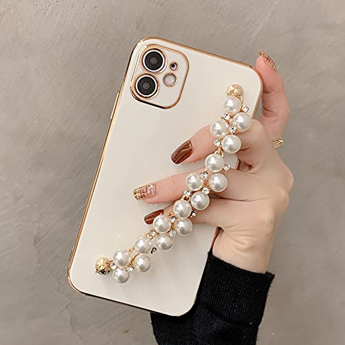 WOYAOFA for iPhone 12 Pro Crystal Diamond Silicone Phone Case for Women Girl, Shiny Luxury Fashion Rhinestone Pearl Bracelet, Wrist Strap and Plating Soft TPU Bumper,Slim and Cute Protective Cover