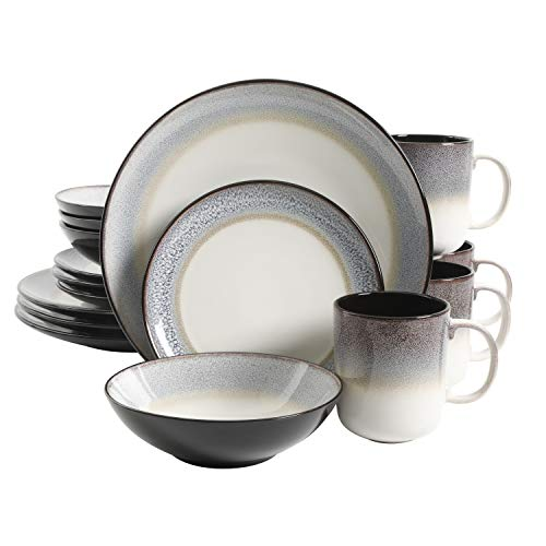 Gibson Elite Rings of Saturn Round Reactive Glaze Stoneware Dinnerware Set, Service for 4 (16pcs), Grey