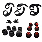 Earbud Kits 3 Pairs (M) Earhooks Universal Ear Fins,3 Pairs (M) Premium Memory Foam Earbud Tips, 3 Pairs (SML) Eartips Silicone Replacement Earbuds Tips, 2 Pcs Cord Clips for Sport Earbuds