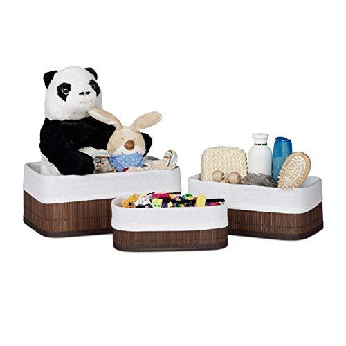 Relaxdays Boîte de rangement en bambou lot de 3 rectangle paniers ouverts HxlxP 13 x 30 x 20 cm avec revêtement tissu, marron