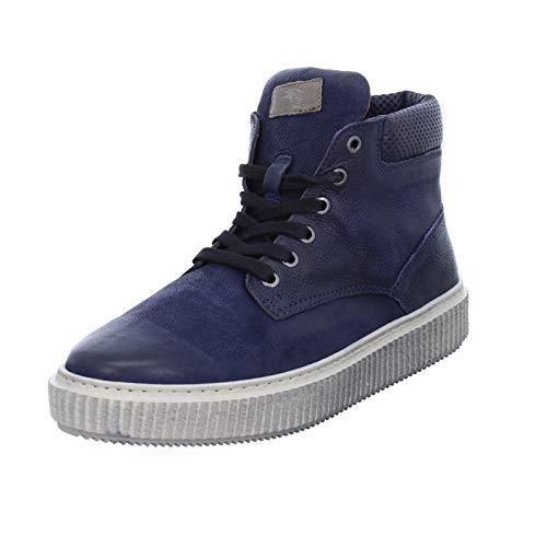 Mjus Herren Schnürer 333203 sportliche Ledersneaker Männer Halbschuhe Blau (Space/Antilope) Größe 46 EU