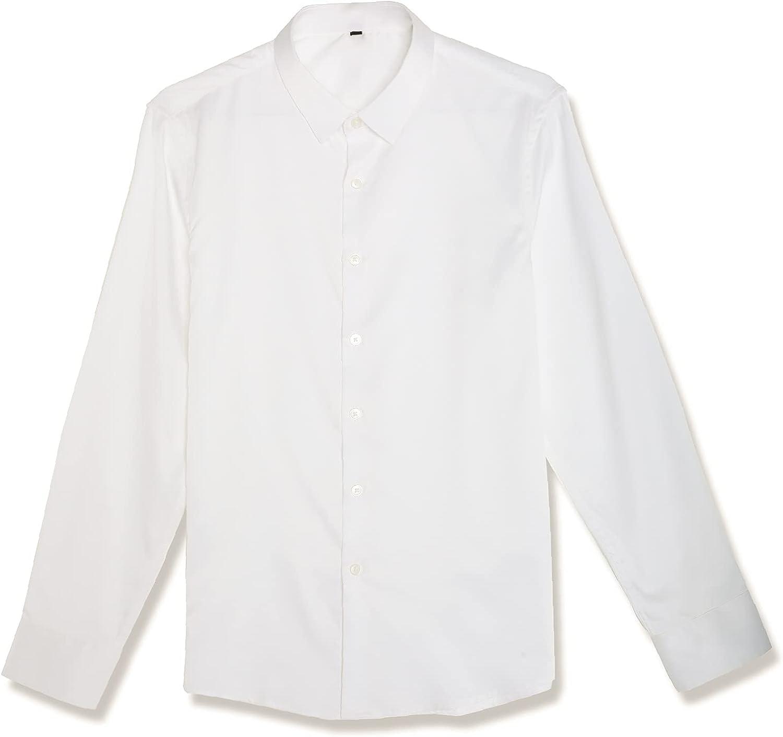 Sufeng studio Men's Long-Sleeved Button-Down Formal Shirt Stretch Slim Anti-Wrinkle White Shirt