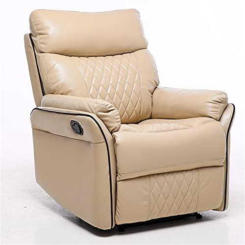 ZYFWBDZ Sillón reclinable Power Lift para Ancianos, con Doble Motor, sillón reclinable de Cama Plana de Cuero PU con Masaje/Calor/vibración/Silla de Sala de Estar con Control Remoto,Beige