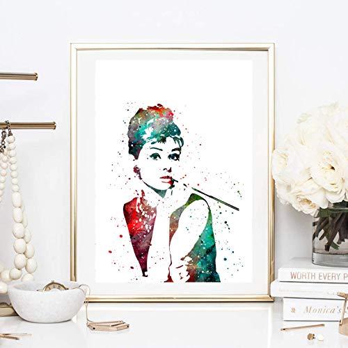 Din A4 Kunstdruck ungerahmt - Audrey Hepburn Portrait Aquarell Wasserfarbe Hollywood Star Ikone bunt Deko, Geschenk Druck Poster Bild