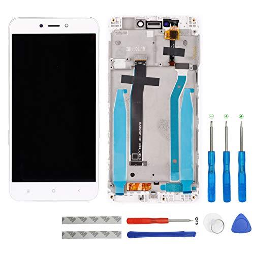 swark - Pantalla LCD compatible con Xiaomi Redmi 4X (blanco con marco), pantalla táctil, digitalizador, cristal y herramientas