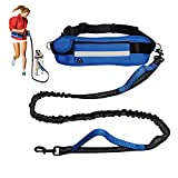 Aiyenio Hands Free Dog Leash Extendable Bungee Dog Running Waist Leash for for Running Walking Jogging Training Hiking Adjustable Waist Belt with Pack, Reflective Stitches, Dual Handle (Blue)