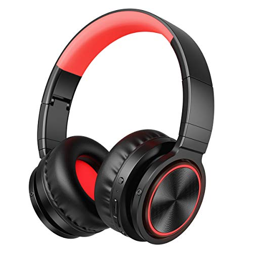VERORAS Wireless Bluetooth Headphones Over Ear, Foldable Hi-fi Stereo Headset with Soft Memory-Protein Earmuffs, Mic, Deep Bass, Wired/Wireless/TF Mode for PC/Cell Phones/TV (Black-Red)