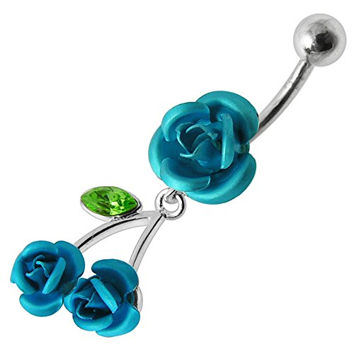 Silver Belly Rings Light Blue Stylish Triple Rose Dangling 925 Sterling Body Jewelry
