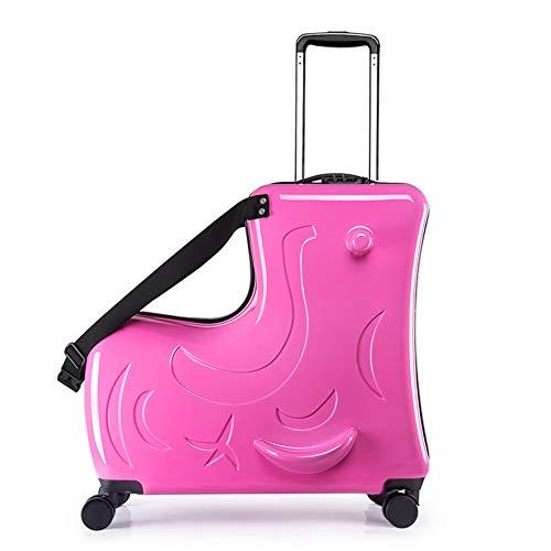 MountRise-Bags ABS-Kinderreisekoffer, 20-Zoll-Aluminium-Trolley-PC-Koffer mit verschleißfestem Laufrad, ideal für Flughäfen, Lange Reise,Rose
