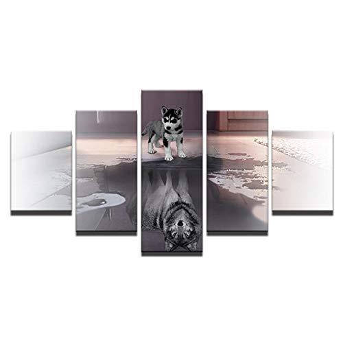 MULMF Hd Gedrukt Schilderij Doek Dier Hond Home Decor Muurdecoratie 5 Panel Wolf Foto's voor Woonkamer Poster- 30X40 30X60 30X80Cm Geen Frame