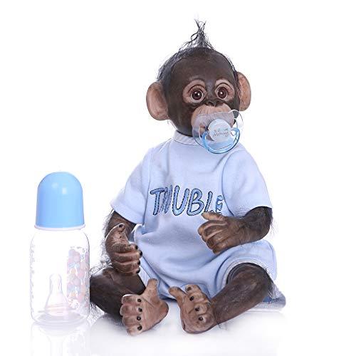 newwyt 40cm Realistische Wiedergeborene Puppe Weiches Silikon Vinyl Neugeborene Babys AFFE Lebensechte Handgemachte Spielzeug Kinder Geburtstagsgeschenk