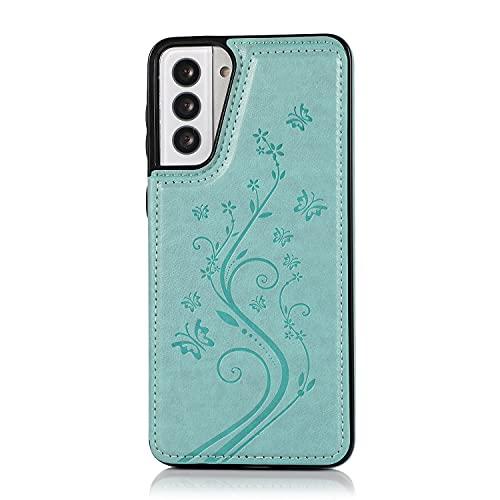 Case Cover, Per Samsung Galaxy S21 Plus Cassa del telefono, custodia in pelle PU di lusso [Two Magnetic Chiush] [Slot per schede] Funzione Stand Funzione Butterfly Flower Pattern Durevole TPU Portafog