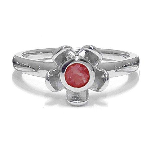 El joyero de anillo de no me olvides de florista & # 10047; & # 10047; Rojo Garnet & # 10047; Plata de Ley