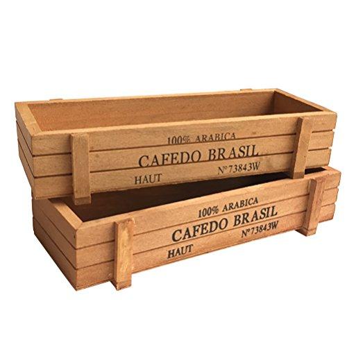 """Vtete 2 Pcs 8.7"""" Wood Succulent Planter Plant Container Box Rectangular Flower Bed Pot"""