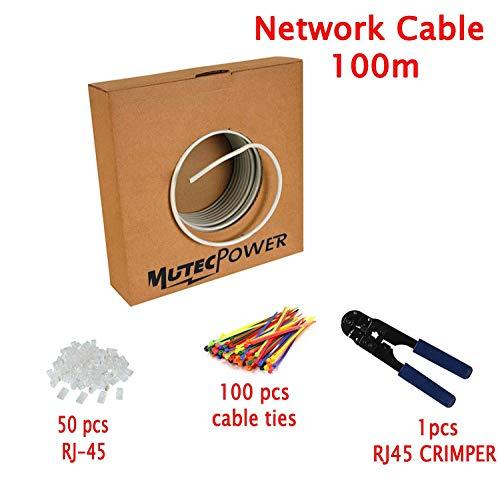 MutecPower 100m CAT5E 24 AWG Solido UTP Cavo di Rete Ethernet - con Pinza per crimpatura - 350 MHz Grigio 100 Meter