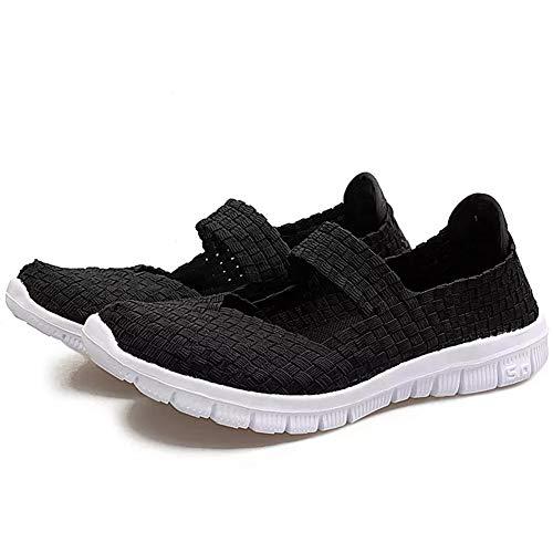 DirkFigge - Zapatillas de Deporte para Mujer (Tejido a Mano, sin Cordones, Ligeras, elásticas, para el Verano), Negro, 38