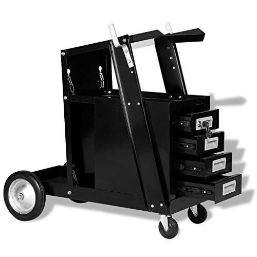 Tidyard Schweißwagen Werkstattwagen Werkzeugwagen aus Stahl Gesamtkapazität:70 kg,Schweißwerkzeuge Mit 4 Schubladen,Abschließbar