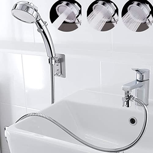 Sink Hose Sprayer Attachment, Laundry Sink Faucet Rinser Aerator and Hand Shower Faucet Attachment with Hose for Pet Bath Spray, Dog Shower, Hair Washing Utility Room, Bathroom -Sliver