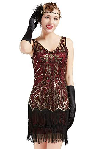BABEYOND Women's Flapper Dresses 1920s V Neck Beaded Fringed Great Gatsby Dress (Gold & Wine Red, XL)