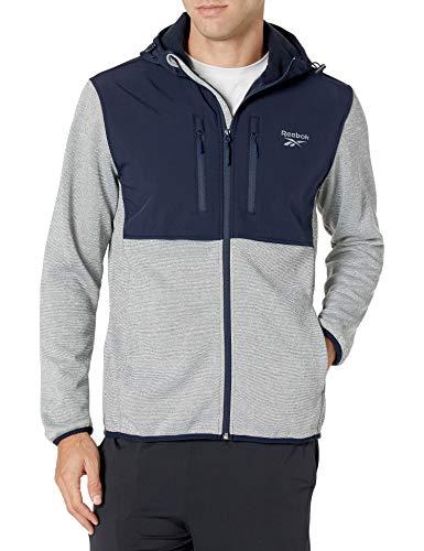 Reebok Men's SWAK Jacket with Soft Woven, Grey HTHR/Navy, 2XL