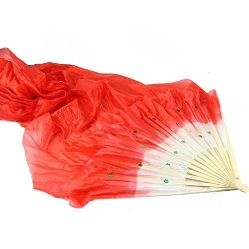 Gwxevce 4 Colores Coloridos Danza de la Mano Danza del Vientre Seda bambú Largo Seda Ventiladores YF Velo Rojo