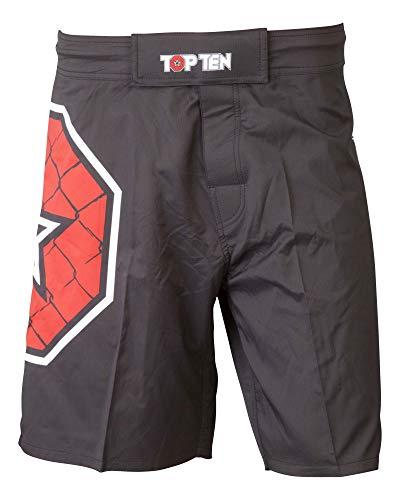 TOP TEN MMA 1882-9160 Pantalones Cortos para Aficionados al fútbol, Unisex Adulto, Negro, Small