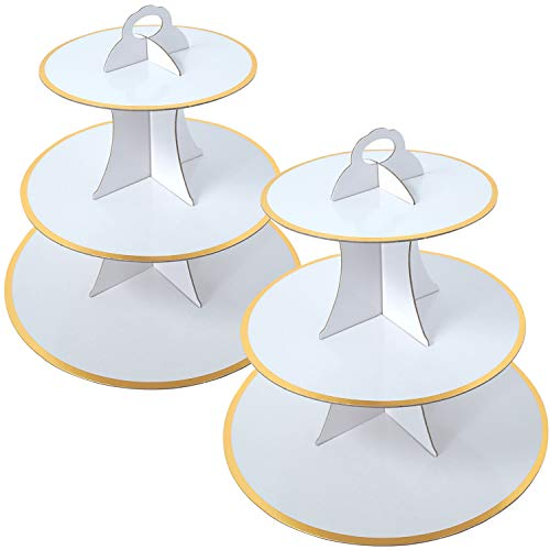 2 Set White And Gold 3-Tier Round Cardboard...