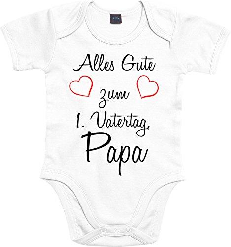 Mister Merchandise Baby Body Alles gute zum ersten Vatertag, Papa Strampler liebevoll bedruckt Glückwunsch Weiß, 0-3