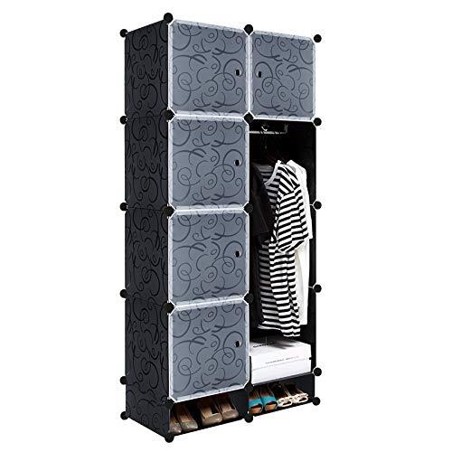 HENGMEI DIY Regalsystem Aufbewahrung Badregale Kleiderschrank Schuhregal Sideboard Schuhschrank Steckregal Badregal mit Schwarz-Muster (8 Boxen mit Tür+2 Boxen)