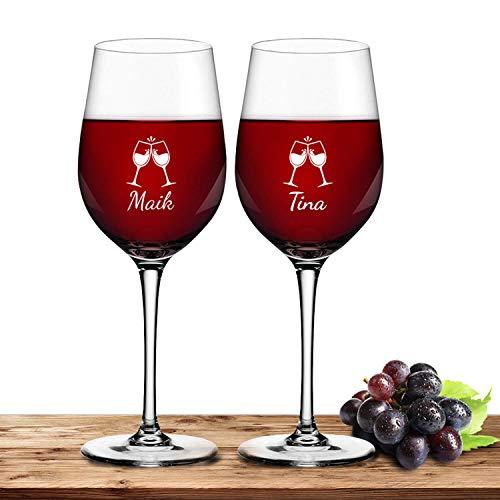 Deitert Leonardo Rotweinglas-Set mit Namen oder Wunschtext graviert, 2er-Set, 430ml, Ciao+, personalisiertes Premium Weinglas in Gastroqualität, (ChinChin)