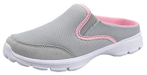 ChayChax Zapatillas de Estar por Casa para Mujer Hombre Zuecos Cómodos Suave Pantuflas de Interior Exterior Antideslizante Ligero Planos Zapatos de Casa, Gris, 36 EU