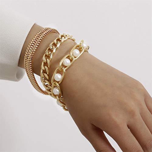 LPOQW - Juego de 3 pulseras para mujer con perlas de imitación, diseño elegante de cadena de muñeca para mujer y niñas, accesorios de joyería para regalos