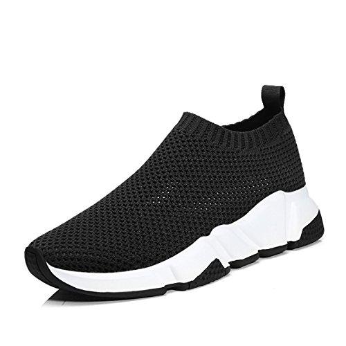 RoseG Herren Damen Mode Schuhe Unisex Leichte Atmungsaktive Sneaker Outdoor Turnschuhe Schwarz/Weiß Size42