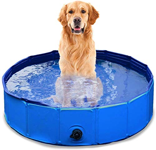 Dog Swimming Pool, Foldable Kids Paddling Pool PVC Non-Slip Garden Pool Outdoor Pet Pool Small Collapsible Safety Paddling Swimming Pools, Foldable Pet Bath Tub for Dogs, Cats and Kids (12030CM)
