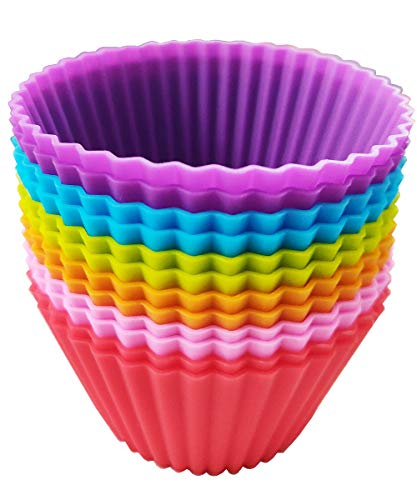 Silicone Cupcake Liners Jumbo 3.54 inch Baking Cups Non-Stick Reusable Muffin Molds 12 Packs in 6 Rainbow Colors