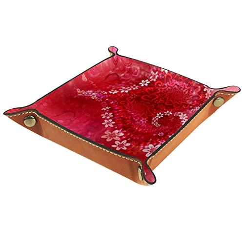Organizador de canastas de cuero Día de San Valentín amor rosa corazón flor para la mesa de estar del escritorio del tocador