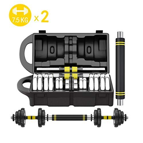 Par de mancuernas de entrenamiento galvanoplastia para hombres, pesas de entrenamiento, fuerza en casa, fitness, gimnasio, entrenamiento (color: 7,5 kg x 2)