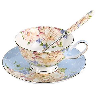 JinGlory Blue Tea Cup,Floral Tea Cup and Saucer Set,Bone China Tea Set,Coffee Cup,Tea Set for Adults/Friends/Women/Men,7OZ