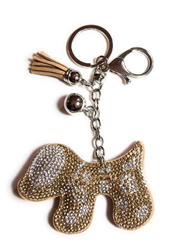 FizzyButton Gifts Puppy hond sleutelhanger ring handtas bedeltje met steentjes en kwastje