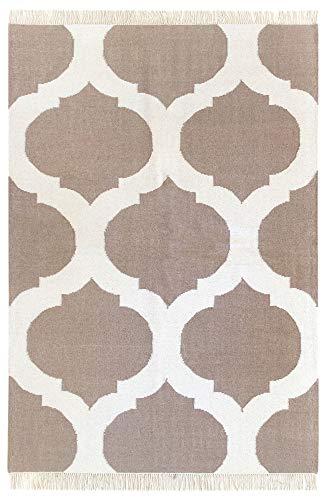 HAMID - Alfombra Kilim Tile con Diseño Geométrico - 100% Lana - Alfombra Anudada a Mano - Alfombra de Pasillo, Salón, Dormitorio, Sala de Estar - Beige (160x230cm)