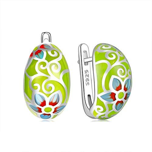 DJMJHG Pendientes de botón de Flores Frescas de Esmalte Verde Claro para Mujer, joyería de Plata 925 de Lujo para Fiesta de Bohemia de Moda, Regalo de joyería