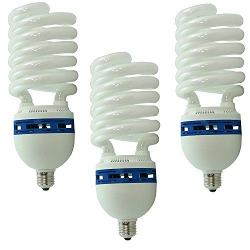 DYNASUN 3X Fotolampe Spirallampe Energiesparlampe Tageslicht SYD 85 400W 5400K Tageslichtlampe Studioleuchte